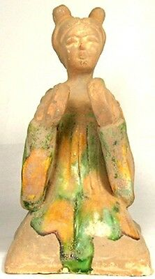 Tang China Female Cymbal Musician Sancai Glazed Ceramic Ancient Medieval 800AD