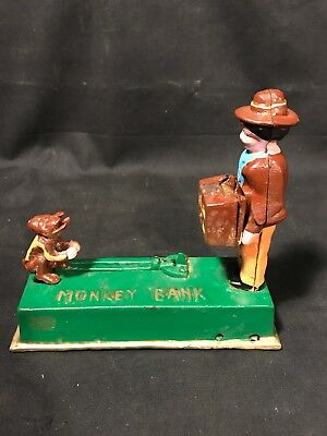 """Vintage Cast Iron """"Monkey Bank"""" Mechanical Coin Bank - Works"""