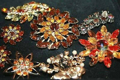 Stunning Antique Vintage Large Lot of amber hued rhinestone brooches, Pins 7 pc.