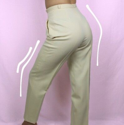 Cream vintage high waisted tailored chino trousers