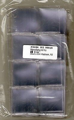 300 Double Pocket 2x2 FRAME-A-COIN UN-Plasticized Flips w/ inserts - 3 100 Packs
