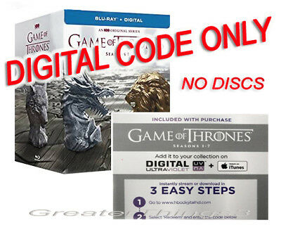 Game of Thrones: The Complete Season 1-7 Blu-Ray - NO DISCS DIGITAL UV CODE ONLY
