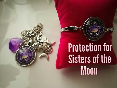 Code 377 Protection for the Sisters of the moon infused necklace n bracelet onyx