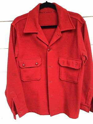 Vtg 50s 60s Red Wool Official Boy Scout Jacket Size 42
