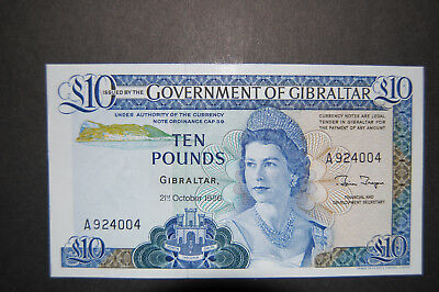 Gibraltar £10 Pounds 1986 Pick 22-b Gem Crisp Unc.