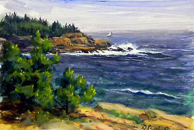 Sand Beach cove - painting by D. Crosby Brown