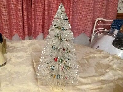 Vintage White Glittered Christmas Tree With Glass Garland.
