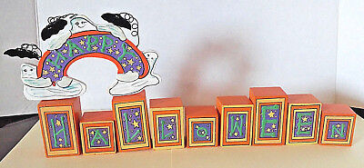 Terry's Village Vintage Halloween Sign Blocks Ghosts Bats Shelf Sitter Table