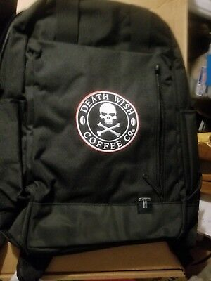 DEATH WISH COFFEE LIMITED EDITION BACKPACK bag BLACK SOLD OUT - NEW nwt