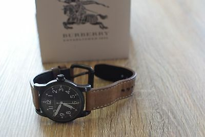 Burberry Military Black Dial Tan Leather Strap Men's Watch $995