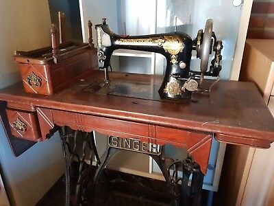 Vintage Singer Sewing Machine And Cast Iron Table