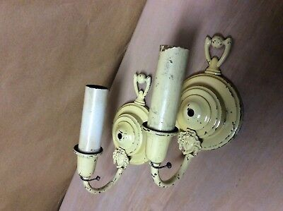 Vintage Brass Pair Of Electric Sconces