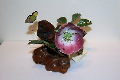 NORMAN BRUMM enamel on copper sculpture, Rugosa Rose with Sulfur Butterfly
