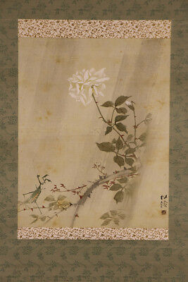 """JAPANESE HANGING SCROLL ART Painting """"Mantis and Flower"""" Asian antique  #E5221"""