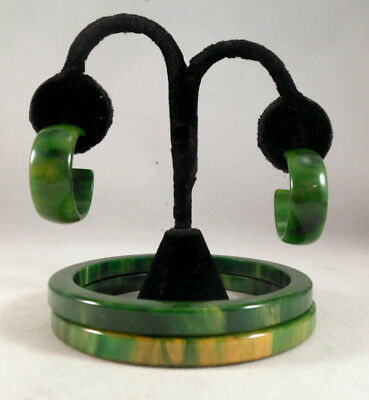Vintage BAKELITE Green & Yellow Marbled Bangle Bracelets & Earrings Tested