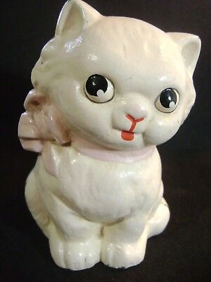 Antique 1930s Hubley Cast Iron Kitten Bank with Pink Ribbon in Great Condition