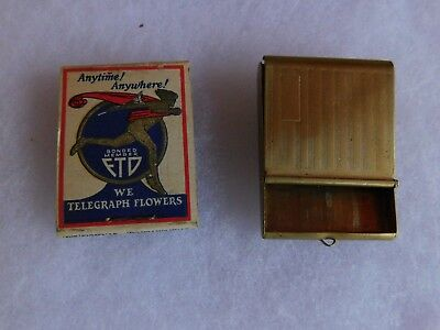 Vintage  Match Book Safe Holder With Match Book 1940's  1950's Ftd Flowers