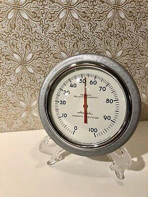 Vintage Airguide Humidity Indicator; Industrial Gray Relative Humidity Indicator
