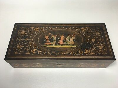 Italian Inlaid Marquetry Dresser Box With Muses 1920's Ink Stamp Slotted Screws