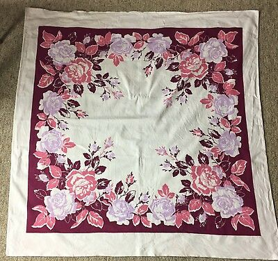 Vintage Cotton Barkcloth Tablecloth Pink And Purple Roses