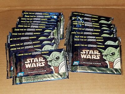 Lot of 24 Sealed 2004 Topps Star Wars Clone Wars Retail Packs - 7 Cards Per