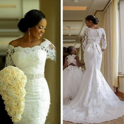 2019 New Lace Mermaid Wedding Dresses Appliques Bride Gowns 3/4 Sleeve Boat Neck