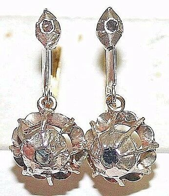 ANTIQUE VICTORIAN 14k GOLD SILVER ROSE DIAMOND 2 STONES DANGLE EARRINGS c 1850