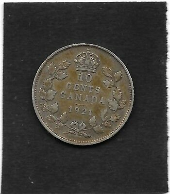 1921 Canada 10 cents silver