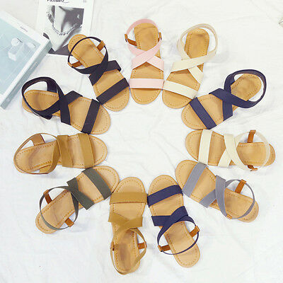 Women's Summer Flat Shoes Holiday Solid Open Toe Flat Ladies Sandals Shoes B
