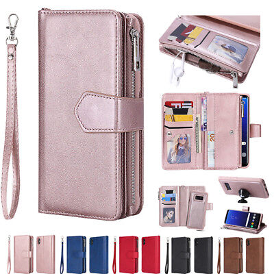 Removable Leather Zipper Wallet Card Cover Case For Galaxy S8+/S9 Plus Note 9 8