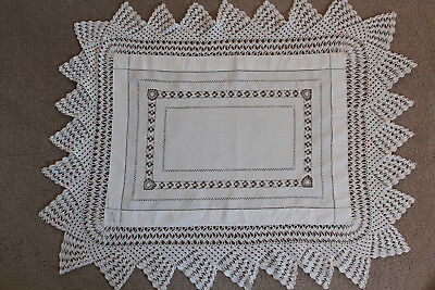 Vintage white linen rectangular cloth with crochet and cutwork.