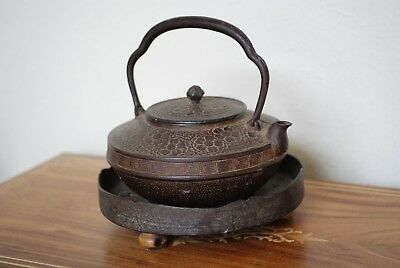 Antique Japanese Iron Teakettle and A Stand,Flowers,Waves,Crabs Designs,Signed