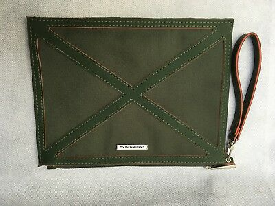 "KLM Airlines Jantaminiau Amenities Soft Zippered Pouch Dark Green Empty 9"" x7"""