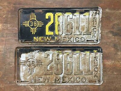 Vintage 1938 New Mexico Truck License Plate Set