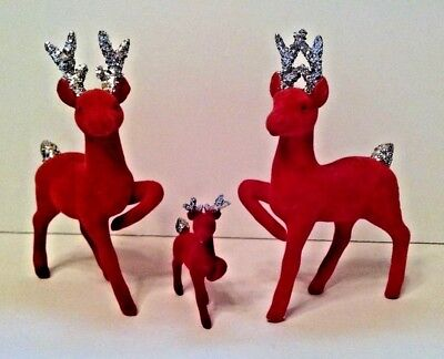 "Vintage Red Flocked 6"" Reindeer with Silver Glitter Antlers Christmas Baby Japan"