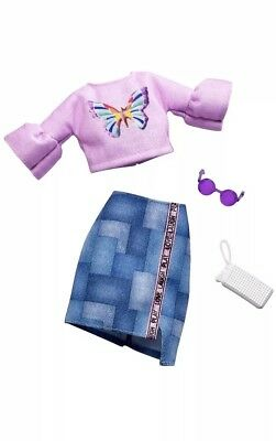 NEW! 2018 BARBIE COMPLETE LOOK FASHION PACK OUTFIT Butterfly Top & Denim Skirt