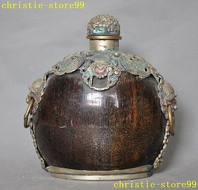 """5""""Chinese Ox horn inaly tibet silver Cloisonne butterfly lion head snuff bottle"""