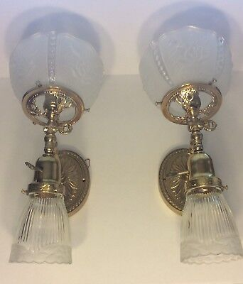 Vtg. Pair (2) Forged Brass Wall Sconce 2 double arm light electric glass shades