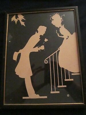 VINTAGE SILHOUETTE CUTOUT Couple black and ivory Framed