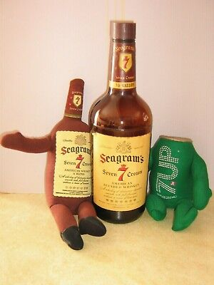 Vintage Seagram's 7 Glass Bottle with cloth 7 up can &  Seagram's cloth Bottle
