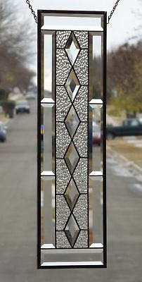 "••Clear Balance ••Beveled Stained Glass Window Panel • 28 ½"" x 8 ½"""