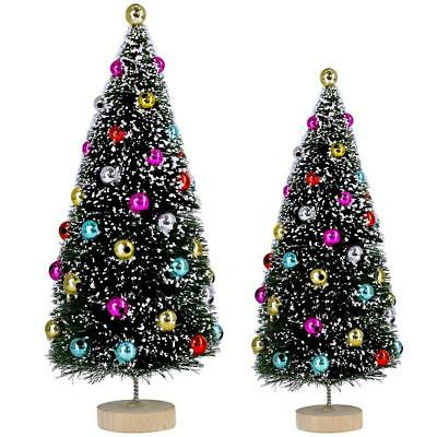 2 Pcs Flocked Tabletop Trees Small Artificial Frosted Bottle Brush Tiny Fake...