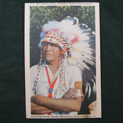 Postcard Cherokee Indian Chief Qualla Reservation Great Smoky Mountains NC