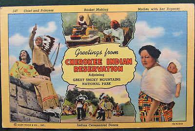 Postcard Cherokee Indian Reservation Multivew Chief Princess Basket Weaving more