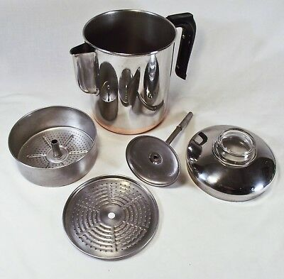 VINTAGE REVERE WARE Stainless Copper Clad 6 CUP COFFEE POT Stove Top PERCOLATOR