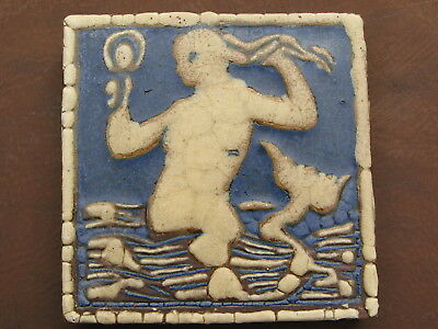 Vintage Grueby Faience Tile 6X6 Mermaid Holding Mirror Rare