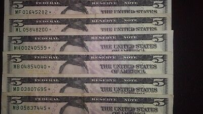 (6)2013 $5 Five Dollar Bills Star Notes Federal Reserve U S Currency Replacement