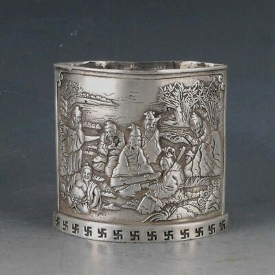 Chinese Rare Silvering Copper Brush Pot Made By The Royal Kangxi