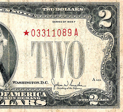 1928 F  $2  (Two Dollar Bill) Red Seal Star Note  *03311089A