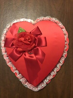"12"" Vintage Red Satin Heart Candy Box Red Ribbon w/Rose Valentine's Day Clean"